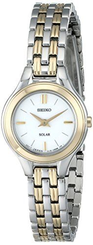 Seiko Womens SUP210 Classic SolarPower TwoTone Watch ** For more information, visit image link.