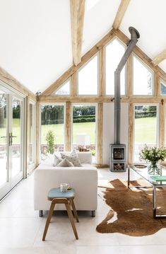 Border Oak vaulted ceiling in garden room