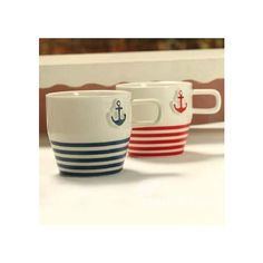 New Arrival Lovely Navy Style Anchor Print One Pair of Porcelain Coffee Cups