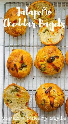 These Jalapeño Cheddar Bagels and so easy to make and have all the cheesy, spicy flavor you crave. #vegan #bagels #baking #bread #carbs Vegan Cheddar Cheese, Jalapeno Cheddar, Vegan Bagel, Bagel Shop, Kneading Dough, Base Foods