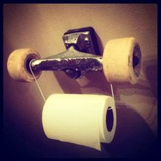 Reuse. Repurpose. Upcycled toilet roll holder made from skateboard parts