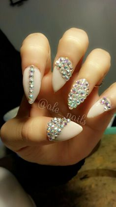 Stiletto nails with crystals