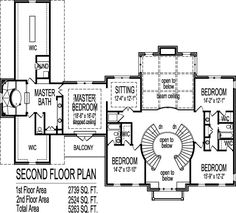 colonial home plans circular stair 5000 sf 2 story 4 br 5 bath 4 car garage basement atlanta augusta macon georgia columbus savannah athens detroit - Large House Plans