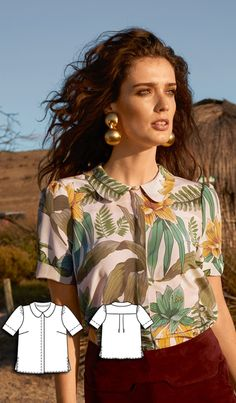 Queen of the Desert: 13 New Women's Sewing Patterns womens blouse sewing pattern Dress Sewing Patterns, Blouse Patterns, Vintage Sewing Patterns, Blouse Sewing Pattern, Burda Patterns, Peter Pan Collar Blouse, Sewing Clothes Women, Diy Clothes, Sewing Blouses