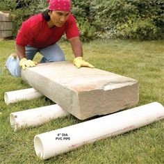 Roll It! You'd be amazed how easy it is to move heavy, awkward objects with three pieces of PVC pipe. Move playhouses, yard sheds, empty hot tubs and rocks weighing well over a ton with this trick. Use 'Schedule PVC, which is available from home centers. Pvc Pipe Projects, Outdoor Projects, Garden Projects, Garden Tools, Dream Garden, Home And Garden, Easy Garden, Big Garden, Family Garden