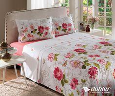 Quer dar mais leveza para um ambiente? Aposte nas flores. Não tem erro, o jogo de cama practice Lisa é cheio de charme e romantismo. #flores #floral #cama #quarto #decor #decoracao #dohler