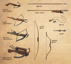Weapons are a large part of any fantasy game. Ninja Weapons, Weapons Guns, Military Weapons, Fantasy Weapons, Fantasy Rpg, Medieval Fantasy, Der Alchemist, Inspiration Drawing, Writing Fantasy