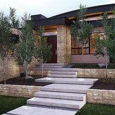 Gorgeous Simple Backyard Landscaping Ideas You Will Love - For a very few homeowners, a front and backyard of just grass abutting up to their home's walls is enough. They like the simplicity and ease of mainta. Backyard Patio, Backyard Landscaping, Landscaping Retaining Walls, Landscape Design, Garden Design, Outdoor Steps, Exterior Stairs, Concrete Steps, House Front Design