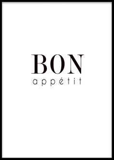 Poster till köket med texten Bon appetit