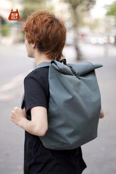Roll Up Top Backpack (Black Corduroy with Green Drill) - Rucksack - Travel Bag - Riding Bag - Men's Bag-Laptop Bag