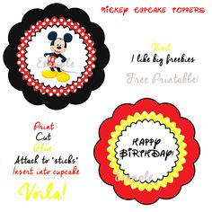 Mickey Mouse cupcake toppers (free printable)