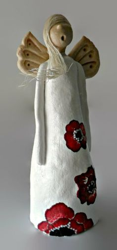 Standing Angel Ornament White Angel with hand by AngeliquEve, £9.85