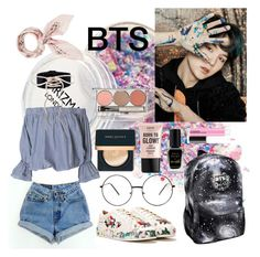 """Bts love"" by lauralydix on Polyvore featuring Levi's, Nasty Gal, Barry M, NYX, Chantecaille and Manipuri"