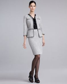 Frisse Tweed Suit & Liquid Satin Blouse by St. John Collection at Neiman Marcus.
