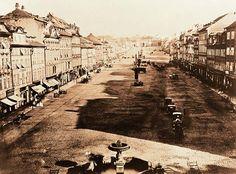 Vaclavske namesti, Praha c. Old Pictures, Old Photos, Time Travel, Places To Travel, Prague Czech Republic, Historical Photos, Retro, Beautiful Places, Landscape