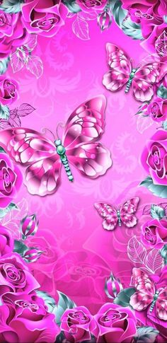 By Artist Unknown. Wallpaper Telephone, Phone Wallpaper Pink, Blue Butterfly Wallpaper, Butterfly Background, Flowery Wallpaper, Butterfly Painting, Butterfly Art, Cellphone Wallpaper, Galaxy Wallpaper