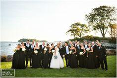 black bridesmaids dresses, wedding on the water
