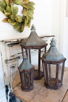 Wood & Galvanized Metal Park Hill Lanterns Candle Holders Pottery Barn for sale online Magnolia Mom, Magnolia Fixer Upper, Magnolia Farms, Magnolia Market, Magnolia Wreath, Pottery Barn Lanterns, Rustic Lanterns, Lanterns Decor, Candle Lanterns