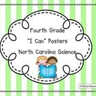 """Fourth grade science """"I Can"""" posters for North Carolina essential standards"""