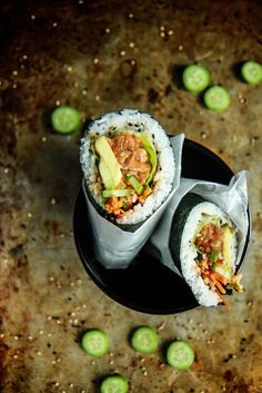 Spicy Salmon Sushritto from HeatherChristo