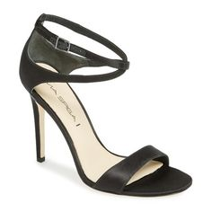 "Via Spiga 'Tiara' Sandal, 4"" heel ($213) ❤ liked on Polyvore featuring shoes, sandals, black satin, leather shoes, ankle tie sandals, black ankle strap sandals, cross sandals and black leather sandals"
