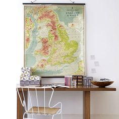 Note to self: both my girls want one for each of their bedrooms. Vintage Wall Maps