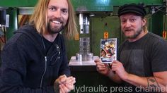 Crushing DVDs for dudesons with hydraulic press