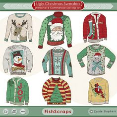 Ugly Sweater Christmas Clip Art - Ugly Sweater ClipArt - Tacky Sweater Digital Graphics - Create your own DIY Printable Holiday Party Invitations! Festive and Fun!  Small Business Commercial use allowed! Royalty Free Graphics