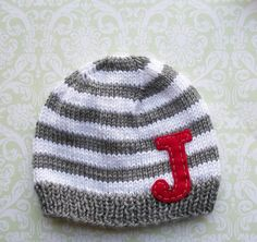 STRIPES And LETTERS Beanie You choose combo and by NinisHandmades, $28.00