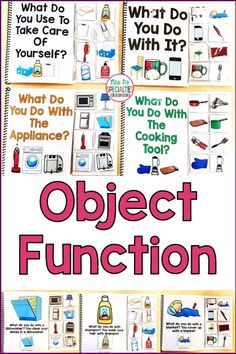 Students learn about the function of common items and objects needed for life skills with this set. These interactive books are perfect for students who need a lot of hands on practice in order to practice and master the language based skill. These adapted books are designed for students in special education classes, for speech therapy and for students who need help to develop language skills.