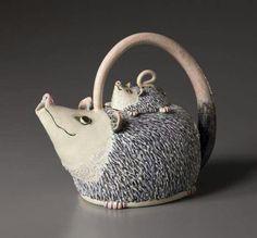 Possum Teapot - by Betsy Vaden, Cedar Creek Gallery Pottery Teapots, Teapots And Cups, Ceramic Teapots, Porcelain Ceramics, Ceramic Pottery, China Porcelain, Tea Cup Saucer, Tea Cups, Cute Teapot
