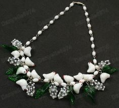 BIRDS&LEAVES blossoms WHITE murano GLASS BEAD NECKLACE vintage beads bird&leaf