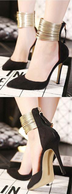 Black Pointed Metallic Strap Zip Detail High Heeled Pumps Choies