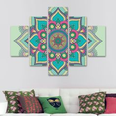 Mandala Drawing, Mandala Painting, Mandala Art, Diy Canvas Art, Wall Canvas, Pintura Zen, Mandala Stencils, House Color Schemes, Driftwood Crafts