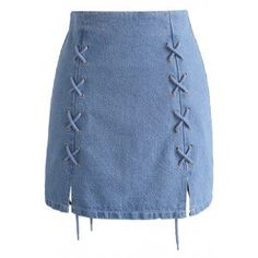 Never Wrong Denim Lace-up Bud Skirt - Skirt - Bottoms - Retro, Indie and Unique Fashion Denim Skirt Outfits, Blue Denim Skirt, Denim And Lace, Casual Outfits, Cute Outfits, Modest Outfits, Chicwish Skirt, Lace Up Skirt, Jeans Rock