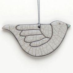 Bird ornament ceramic Raku dovewhite by DavisVachon on Etsy