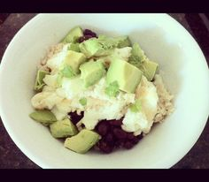 Good morning ladies! Just wanted to share my healthy breakfast bowl I made. Its inspired by one I get from Mothers Market. Its packed with fiber, protein and healthy fats! Not to mention it tastes pretty darn good and it super easy to make! I use 1/2 cup brown rice, a couple spoonfuls of black beans, dairy free cheese (more on this below), egg whites, half an avocado and topped off with fresh cilantro. My hubby likes his with a little hot sauce to give it a kick! So yummy and easy t...