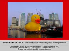 GIANT RUBBER DUCK (50' Tall) [2012].12/11 @ ENGLAND – London: River Thames --- Preparing to float down the River from Canary Wharf in east London // inflatable balloon Sculpture floating around the world to spread Peace/Goodwill