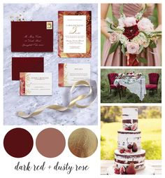 """""""I DO HUE"""" Dark Red & Dusty Rose  This color pallet of deep cherry red and muted dusty rose with accents of gold is versatile and perfect for any season. In the Caroline Invitation Suite, I utilized the colors with a antique marbled paper texture and faux gold foil accents to create a piece perfect for a vintage inspired wedding. Keep an eye on www.danielleshay.com/blog for a new color pallet each month and  for more inspiring ideas for your big day!"""