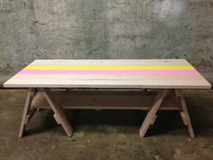 Pastel pink and yellow trestle coffee table by Richie Tipene Design