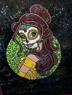 Disney Tattoo – Belle Sugar Skull Princess ○Kitty OGane ( My Art )… Disney Punk, Dark Disney, Disney Art, Disney Belle, Disney Girls, Disney Love, Princess Kitty, Princess Art, Sugar Skull Art