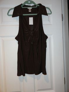 CACHE BROWN SLEEVELESS TOP SIZE XL NEW WITH TAGS #Cache #Blouse #Casual