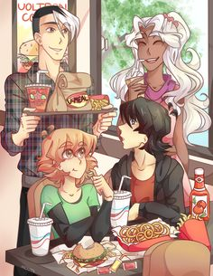 Keith and Pidge in a hamburger date with Shiro and Allura from Voltron Legendary Defender