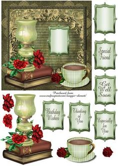 Grunge Vintage Floral 6 topper  on Craftsuprint designed by Maggie Skerrett - Pretty topper in vintage tones, featuring a lamp and roses, cuppa and a good book... what a lovely way to wish someone a wonderful day.  - Now available for download!