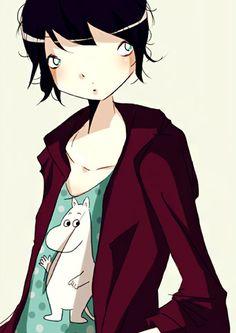 "Nicolas Hitori De "" Moomin T-Shirt Girl "" Represented by Sylvie Poggio Artists agency.    http://sylviepoggio.com/wp/portfolios/nicolas-hitori-de-illustration-portfolio-2-2/"