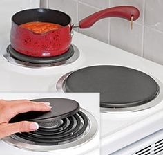 for electric stove: Heavy cast-iron heat plate gives electric burners a boost! Simply place over old burners for constant, even heat.