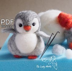 PENGUIN needle felting instructions by The Lady Moth - PDF -.-PENGUIN needle felting instructions by The Lady Moth – PDF – DIY pattern – make your own cute penguin – printable instructions PENGUIN needle felting instructions by The Lady Moth PDF Needle Felting Kits, Needle Felting Tutorials, Needle Felted Animals, Wet Felting, Felt Animals, Christmas Needle Felting, Beginner Felting, Felt Penguin, Diy Kit