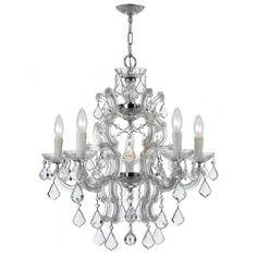 "Elegant Lighting ""Maria Theresa"" 6-light crystal chandelier to hang above bed in powder-blue French/Scandinavian French bedroom"