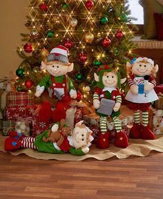 Set these Decorative Holiday Elves around your tree to wait for Santa.Set of 4 Christmas Elves 2 Ft. Tall Bendable Figures Festive Holiday Home Decor Add one of these charming Bendable for easy positioning. The legs bend so you can position them in a Simple Christmas, Christmas Holidays, Christmas Wreaths, Christmas Crafts, Christmas Ornaments, 2 Ft Christmas Tree, Holiday Tree, Happy Holidays, Merry Christmas