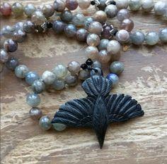 The Raven, raven power beads, raven mala, raven rosary, witch rosary, witch prayer beads, witch mala, wicca prayer beads, wicca rosary by MagickAlive on Etsy